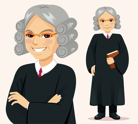Senior judge man standing holding book and crossed arms pose Illustration