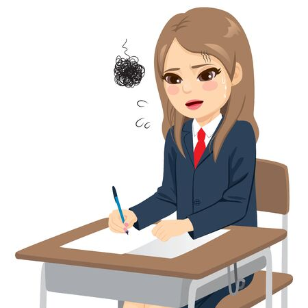 Young student girl stress anxious overwhelmed with difficult exam sitting on desk