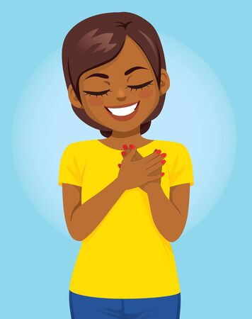 Young African American woman with hands on heart making lovely grateful face expression gratitude gesture