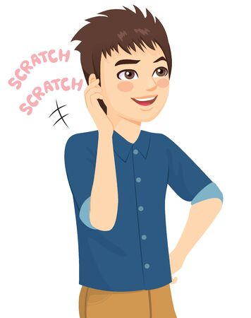 Young man scratching head making forgetful face expression Illustration
