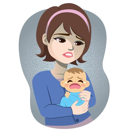 Woman suffering postpartum depression stress holding baby crying