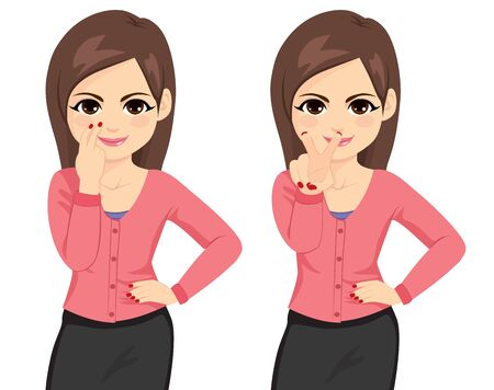 Belle jeune femme d'affaires brune vous regardant faire un geste sur deux poses différentes