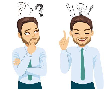 Jeune homme d'affaires dans deux poses d'action différentes pensant et ayant une bonne idée