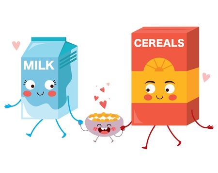Cute food character family of milk cereals and bowl holding hands walking together happy