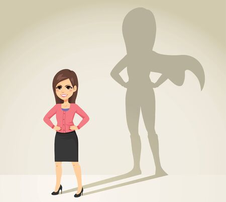 Beautiful young brunette businesswoman with super hero shadow on background