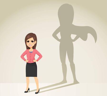 Beautiful young brunette businesswoman with super hero shadow on background Standard-Bild - 128781501