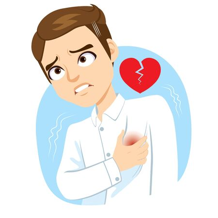 Adult man with hand on chest suffering heart stroke pain