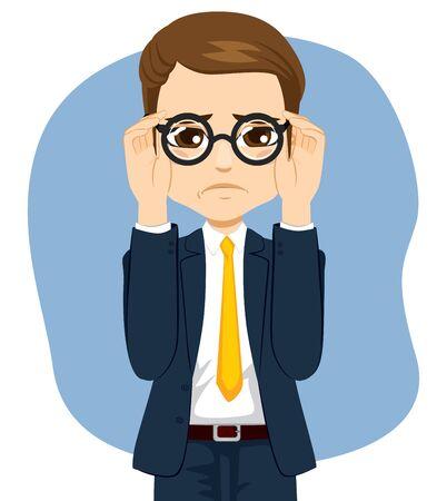 Jeune homme souffrant d'un problème de déficience visuelle en ajustant les lunettes sur le visage