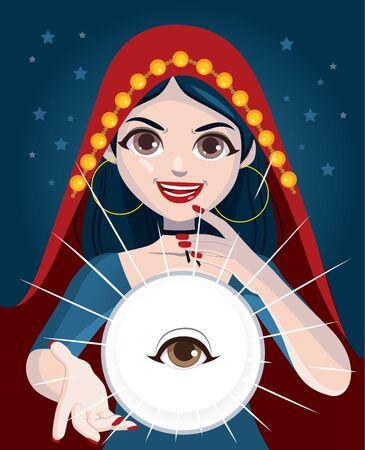 Donna psichica indovino che usa la sfera di cristallo magica con l'occhio che tutto vede dentro