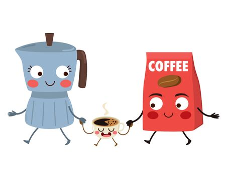 Cute food character coffee family of coffee maker mom coffee bag dad holding hands espresso coffee cup child walking together happy