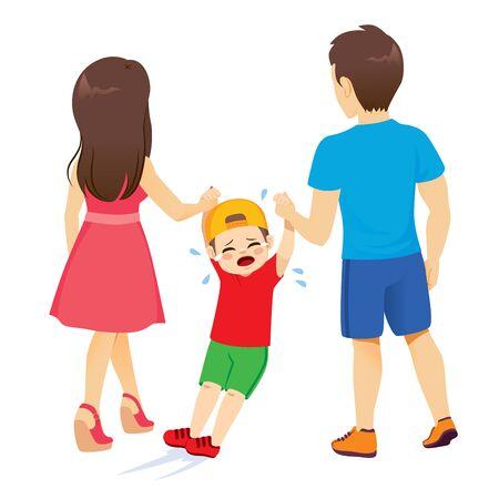 Padres de vista posterior arrastrando niño llorando rebelde Ilustración de vector