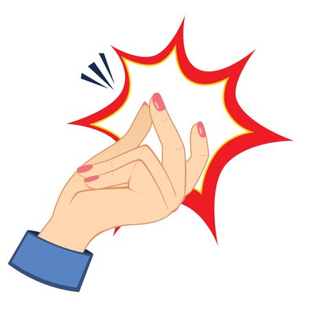 Closeup action of woman hand snapping fingers gesture