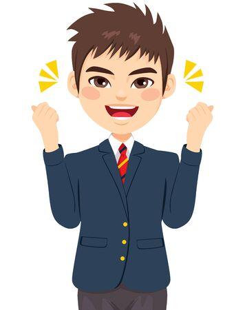 Heureux jeune garçon joyeux souriant expression du visage énergique avec les poings en uniforme bleu Vecteurs