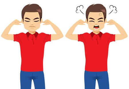 Young angry man in two face gesture actions covering ears with fingers