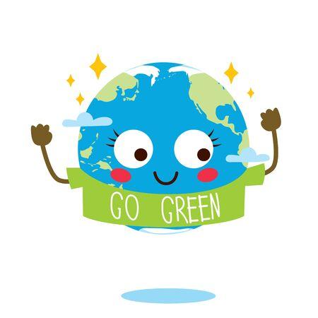 Cute planet Earth cartoon character mascot with go green shirt Ilustração