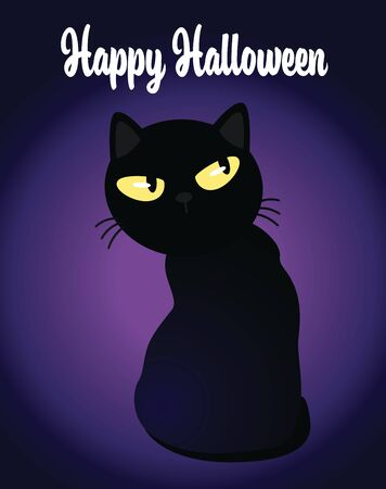 Happy Halloween invitation black cat with glowing eyes on dark spooky background