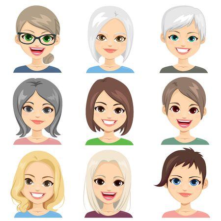 Middelbare en oudere vrouwen avatar gezichtsset collectie