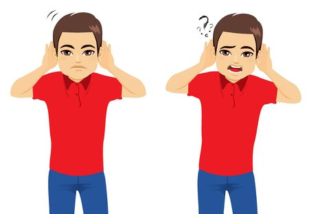 Man hearing with both hands two action listening and asking