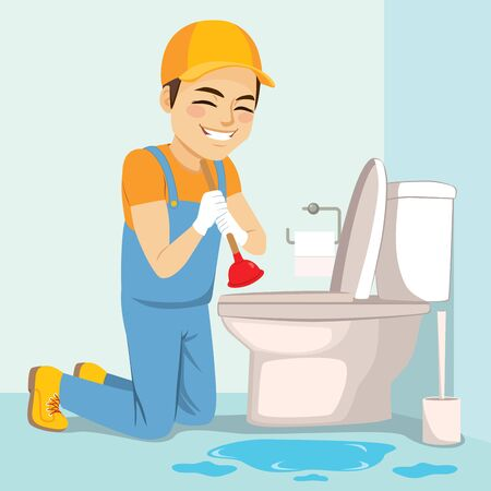 Young plumber worker fixing ceramic white toilet on bathroom
