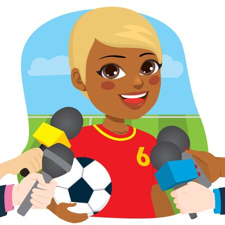 Young beautiful black female soccer player in front of reporters hands holding microphones for an interview Illustration