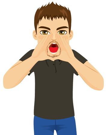Young angry man shouting out loud with hands over mouth  イラスト・ベクター素材