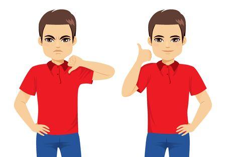 Mann, der gute und schlechte Handzeichen macht, Daumen hoch oder Daumen runter Uneinigkeitsvereinbarungskonzept Vektorgrafik