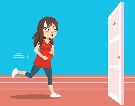 Young pregnant woman running to bathroom door pee urgency funny runner concept
