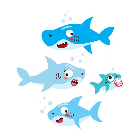 Cute happy four member family shark swimming on sea