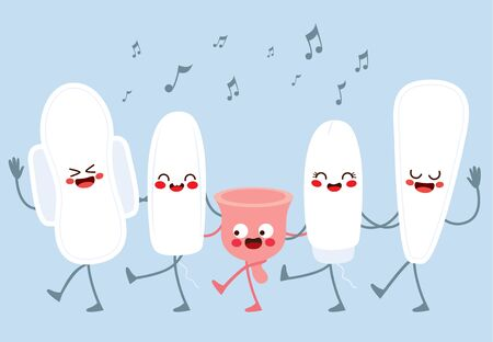 Cute characters female hygiene menstruation dancing and singing together Stock Illustratie