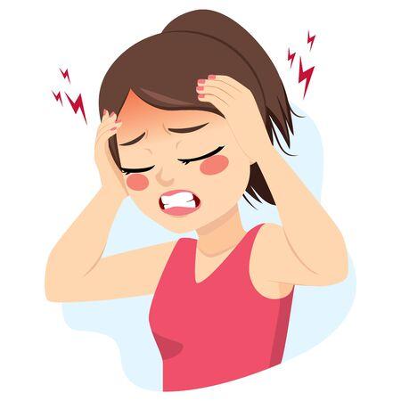 Młoda nastolatka kobieta cierpiąca na migrenowy ból głowy, trzymając głowę rękami Ilustracje wektorowe