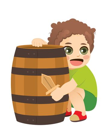 Little kid playing pirate game hiding behind wooden barrel holding sword