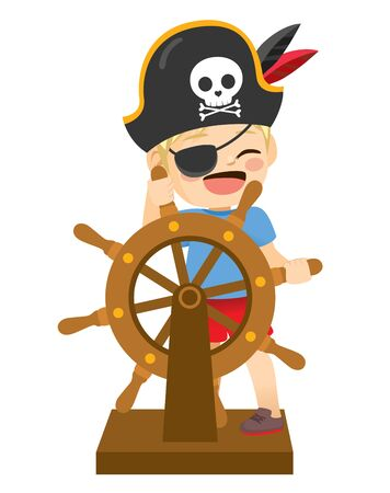Cute little boy disguised in pirate costume holding wooden ship steering wheel