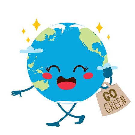 Earth planet cute character with cotton bag and handwritten go green text Illustration