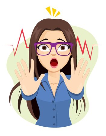 Scared businesswoman arms up making stop hands gesture with mouth open afraid expression Ilustrace