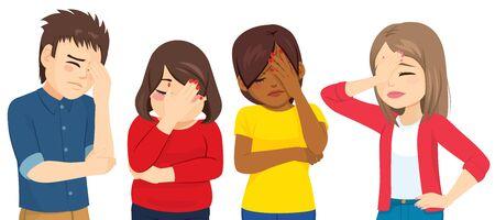 Gruppo di adolescenti che fanno il gesto del palmo del viso in completa delusione e incredulità Vettoriali