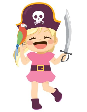 Sweet happy pirate girl with parrot on hand and holding sword Illustration