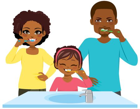 Happy young black family washing teeth together morning routine