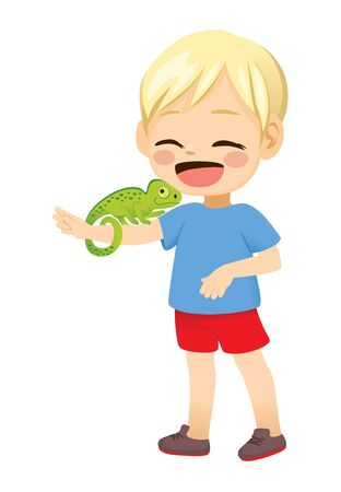 Cute little blond boy happy with pet chameleon in arm