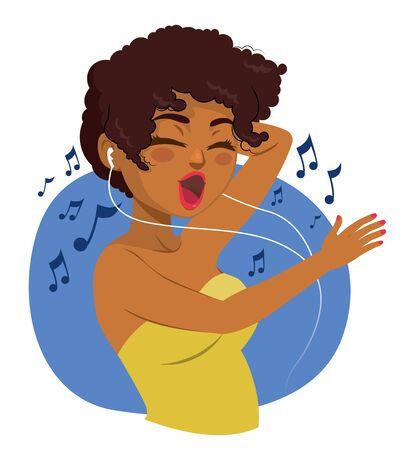 Happy black teenager woman listening to music with earphones and dancing Illustration