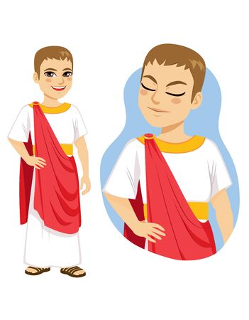 Illustration of rich patrician roman citizen standing with red toga and gold accessories