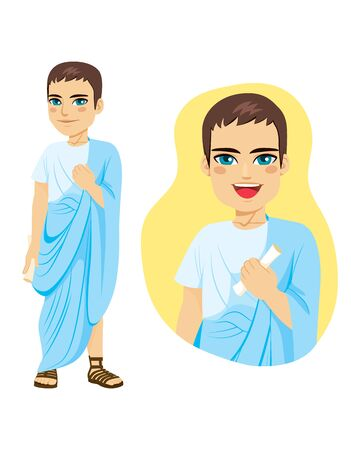 Illustration of commoner roman citizen standing with blue toga and holding papyrus