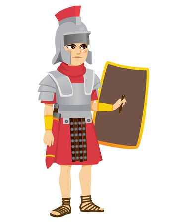 Roman legionary soldier with sword on belt holding shield Illustration