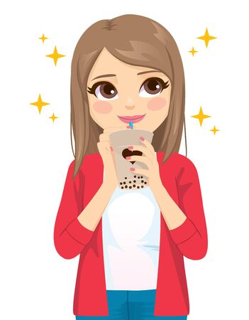 Beautiful young teenager woman looking up enjoying delicious tapioca bubble tea drink
