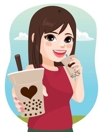 Beautiful young woman outdoors drinking delicious tapioca bubble tea offering you a drink