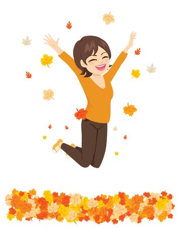 Happy autumn time woman jumping over fall leaves Illustration