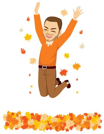 Happy autumn time man jumping over fall leaves