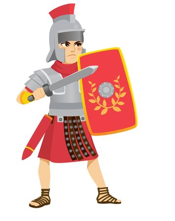 Roman Legionary in action fighting with sword and holding shield