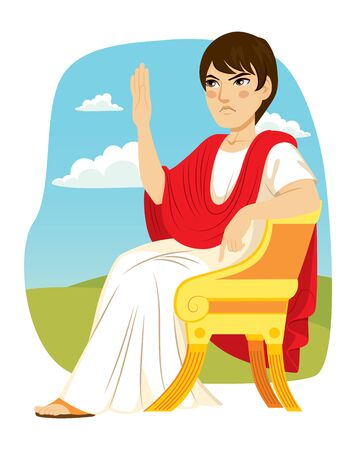 Ancien patricien romain assis sur une chaise de luxe avec bras levé