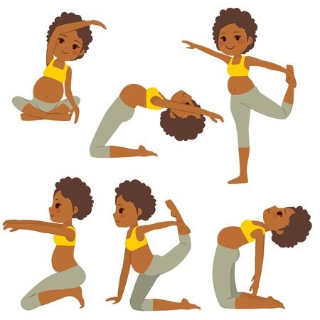 Young black beautiful pregnant woman set poses collection training and exercising Illustration