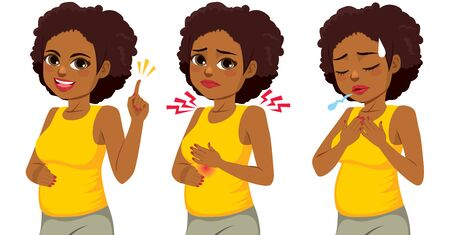 Happy beautiful afro black pregnant woman in three different actions pointing hand burning discomfort and difficulty breathing